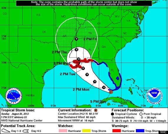 Hurricane isaac path